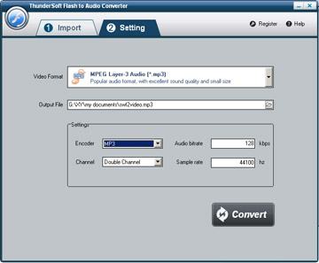 Click to view ThunderSoft Flash to Audio Converter 1.3.3.1 screenshot