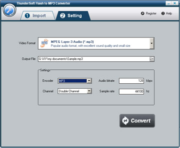 Click to view ThunderSoft Flash to MP3 Converter 1.7.0 screenshot