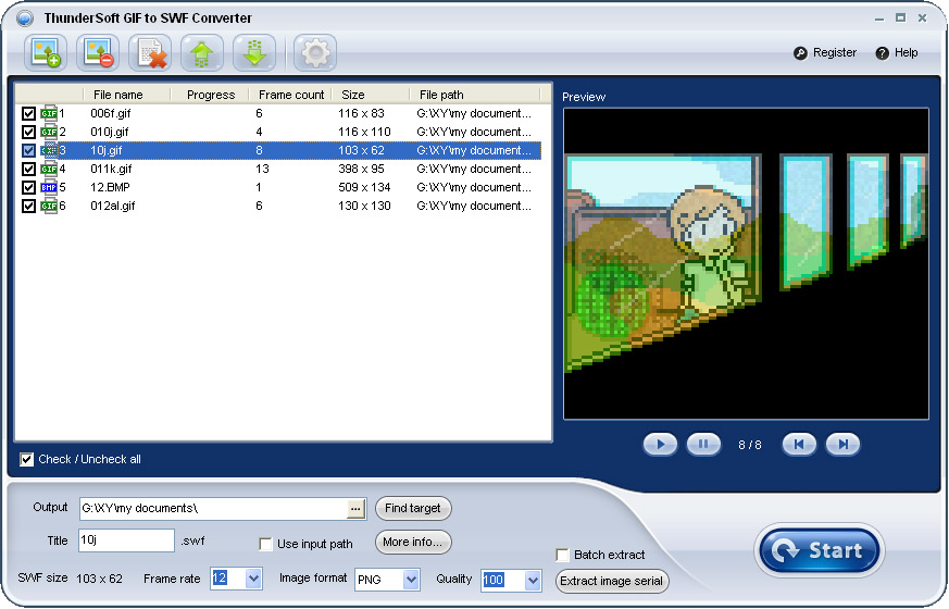 Click to view ThunderSoft GIF to SWF Converter screenshots